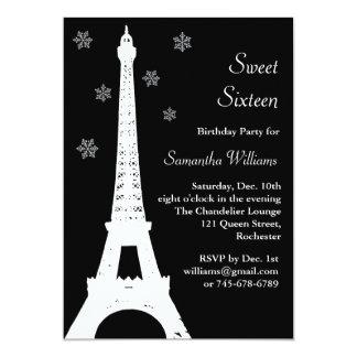 """El invierno en el cumpleaños de París invita a Invitación 5"""" X 7"""""""