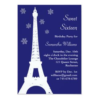 """El invierno en el cumpleaños de París invita al Invitación 5"""" X 7"""""""