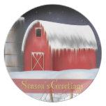 El invierno en la granja sazona la placa de los sa plato de comida