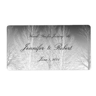 El invierno ramifica etiqueta gris blanca negra de etiquetas de envío