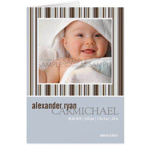 El invierno raya el azul • Invitación del bebé Tarjeta Pequeña