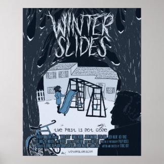 El invierno resbala el poster de teatro