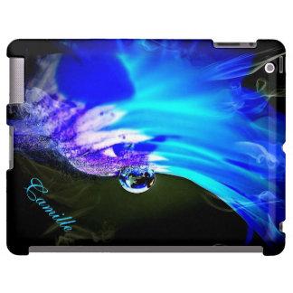 El iPad azul brillante del descenso de la flor W/W