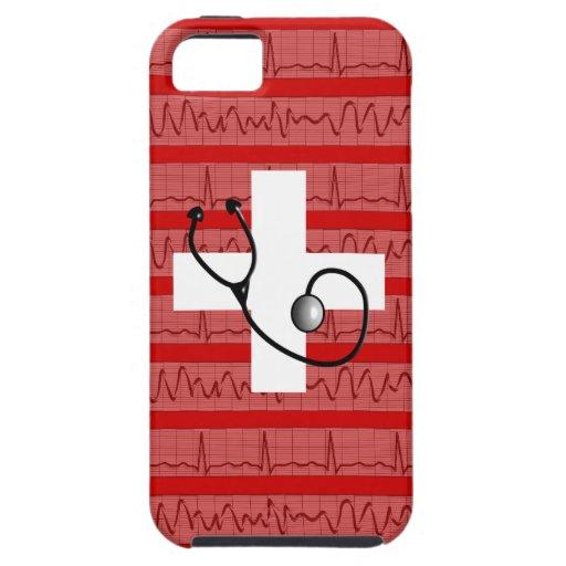 El iPhone médico 5 tiras cardiacas del ritmo del c iPhone 5 Carcasas