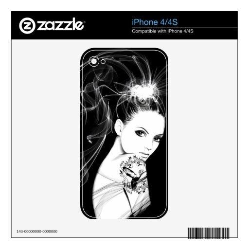 El iPone del dibujo del chica del humo pela 4/4S Calcomanías Para El iPhone 4S
