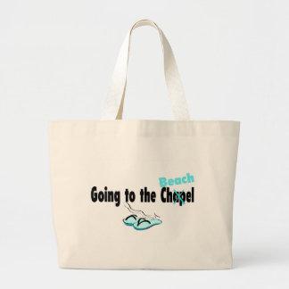El ir a la capilla (playa) (flip-flop) bolsa tela grande