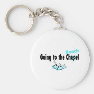 El ir a la capilla (playa) (flip-flop) llavero redondo tipo pin