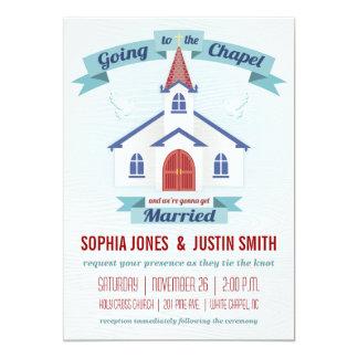 El ir a la invitación del boda de la capilla invitación 12,7 x 17,8 cm