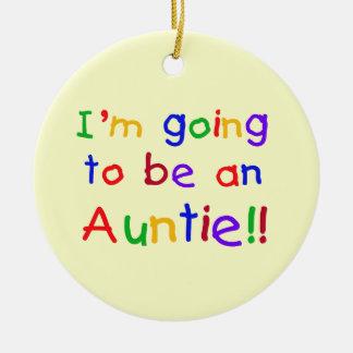 El ir a ser regalos de una tía colores primarios adorno navideño redondo de cerámica