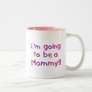 El ir a ser una mamá - rosa y púrpura tazas
