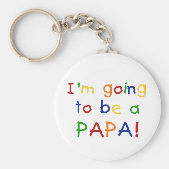 El ir a ser una papá - colores primarios llavero redondo tipo pin