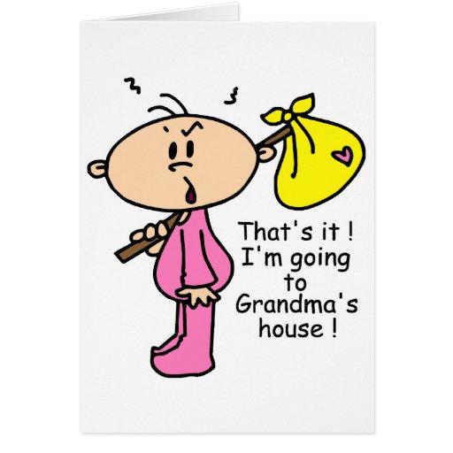 El ir al bebé de la casa de la abuela (rosa) tarjetón