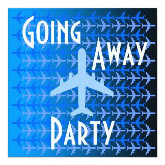 """El ir lejos azul del avión de la tarjeta de la invitación 5.25"""" x 5.25"""""""