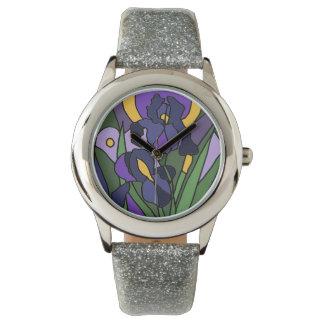 El iris azul florece el reloj del arte abstracto