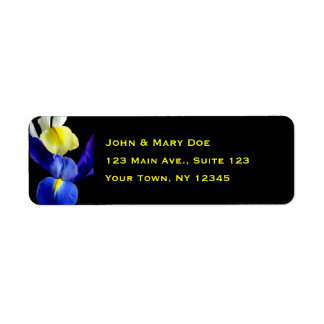 El iris azul y amarillo florece 4b etiquetas de remite