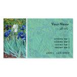 El iris botánico del arte del vintage florece al tarjeta de visita