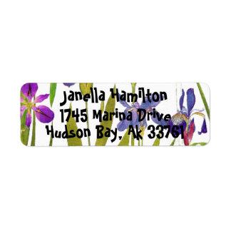 El iris botánico florece el jardín floral de etiqueta de remite