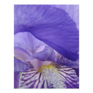 El iris púrpura de papel del libro de recuerdos fl membretes personalizados