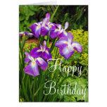 El iris púrpura florece la tarjeta de felicitación