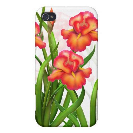 El iris rojo florece la caja adaptable de la mota iPhone 4/4S funda