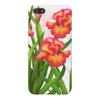 El iris rojo florece la caja adaptable de la mota iPhone 5 funda