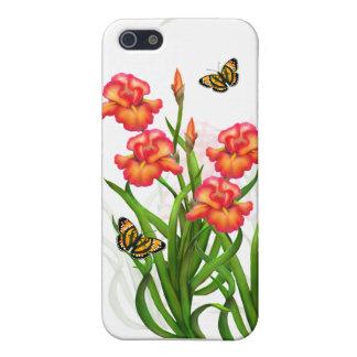 El iris rojo florece la caja adaptable del iPhone iPhone 5 Funda