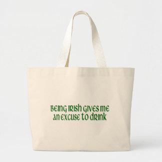 El irlandés es una excusa a beber bolsa tela grande