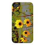 El ish amarillo de la margarita florece el fondo v iPhone 4 cárcasas