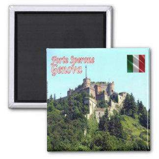 ÉL - Italia - Génova - fuerte Sperone Imán Cuadrado