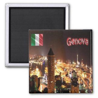 ÉL - Italia - Génova - puerto del panorama en la Imán Cuadrado