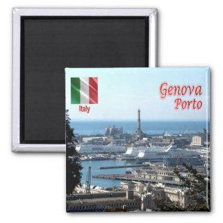 ÉL - Italia - Génova - puerto del panorama Imán Cuadrado