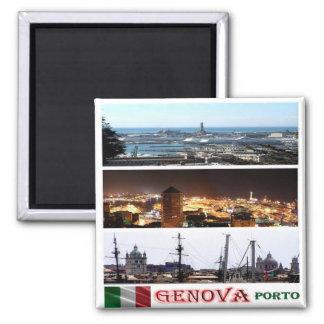 ÉL - Italia - Génova - puerto - mosaico del Imán Cuadrado