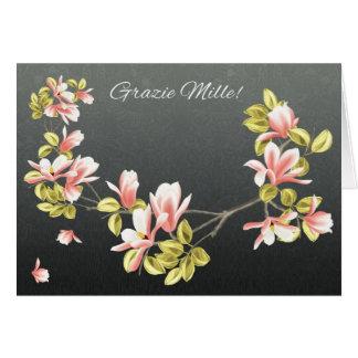 El italiano le agradece cardar con la magnolia tarjeta de felicitación