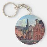 El Jansstraat en Haarlem con el St. Bavochurch Llavero Personalizado