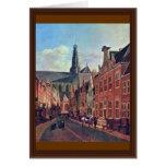 El Jansstraat en Haarlem con el St. Bavochurch Tarjeta De Felicitación