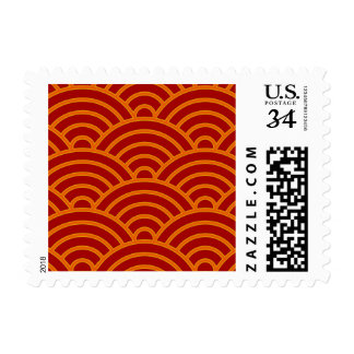 El japonés agita el rojo, naranja, amarillo sellos postales