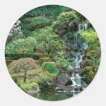 El japonés cultiva un huerto Portland, Oregon Etiquetas Redondas