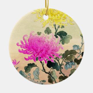 El japonés del crisantemo de Koitsu Tsuchiya Adorno Navideño Redondo De Cerámica