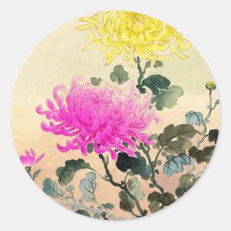 El japonés del crisantemo de Koitsu Tsuchiya Pegatina Redonda