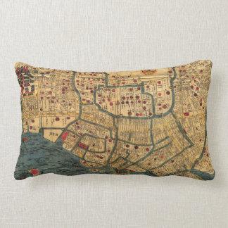 El japonés del vintage etiquetó el mapa de Tokio Cojín