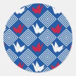 El japonés Origami Cranes el modelo (Orizuru) Pegatina Redonda