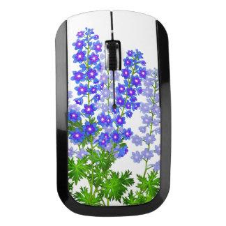 El jardín azul del Delphinium florece el ratón Ratón Inalámbrico