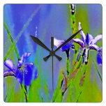 El jardín azul del iris florece arte del diseñador relojes de pared
