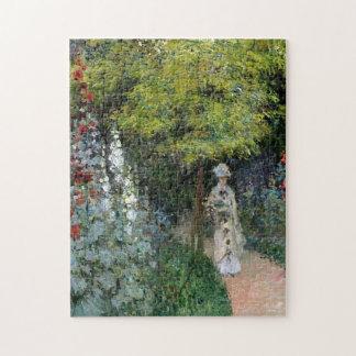 El jardín, bella arte de Monet de los Hollyhocks Puzzles