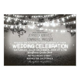 el jardín blanco y negro enciende el boda rústico invitacion personalizada