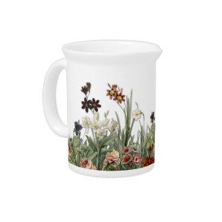 El jardín botánico del vintage florece la jarra de