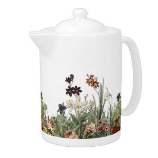 El jardín botánico florece el pote del té de la
