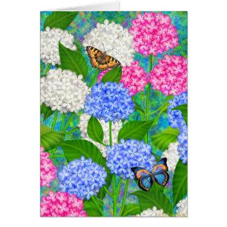 El jardín colorido del Hydrangea florece la tarjet Tarjetas