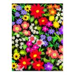 El jardín colorido florece la postal