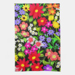 El jardín colorido florece la toalla de cocina